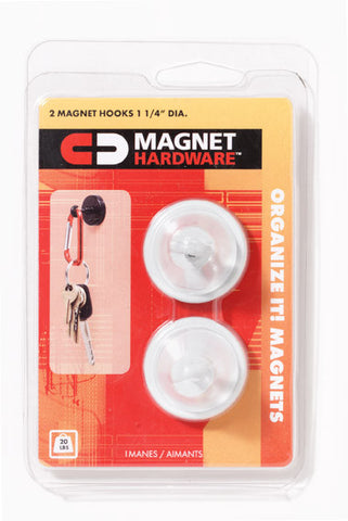 Magnetic Hooks - Heavy Duty Magnet Hooks - Qty. 2 in White