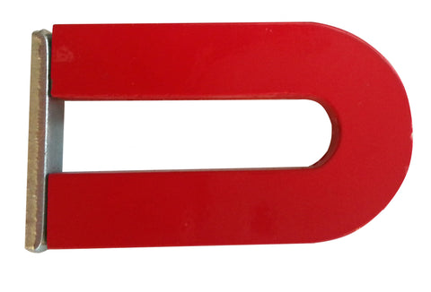 2 Inch Red Horseshoe Alnico Magnet Includes Steel Keeper