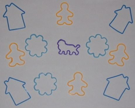 Fun Shapes Silicone Rubber Bands: House, Person, Snowflake, Lion - 12 pk