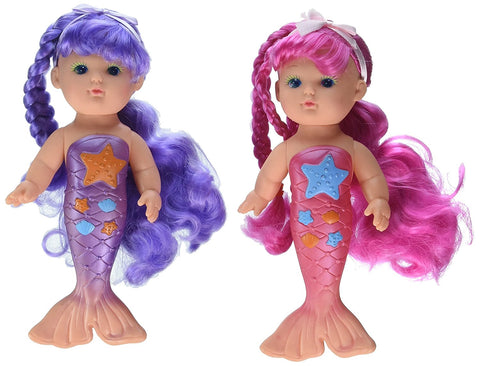 Bath Time Magical Mermaid Dolls by Toysmith - Pack of 2 (Pink & Purple)