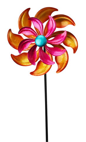 Pink & Orange Flower Garden Wind Spinner and Stake
