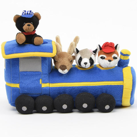 "Blue Train House - 12"" Carrying Case w/4 Plush Animals by Unipak Designs"