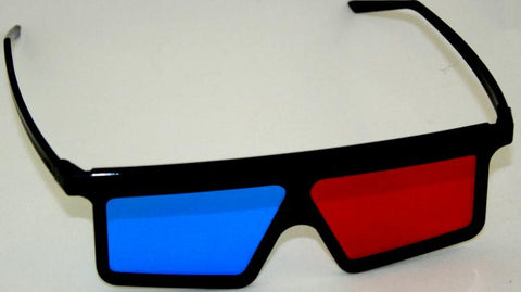 Gems Anaglyph 3D Glasses Red/Cyan w/Black Plastic Frame for 3D Print Photos & Film
