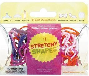 LITTLE DIVA Stretchy Shapes (Lipstick, Tiara, Gift) Rubber Band Bracelets 24 Pack