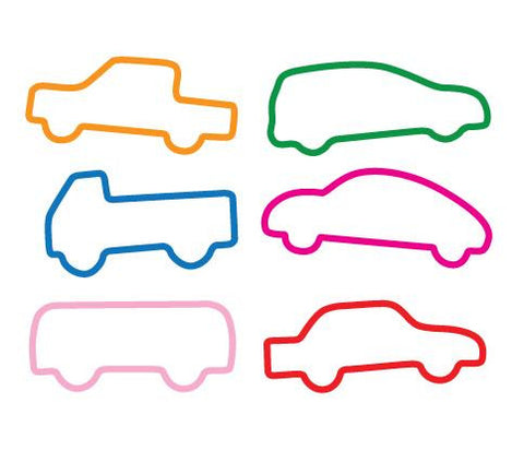 Cars Shaped Silicone Rubber Band Bracelets Pk/12