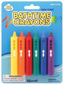 Set of 6 Bath Crayons: Tub Time Fun