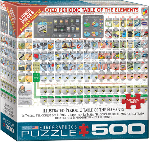 "Illustrated Periodic Table 500 Piece Family Puzzle 19 1/4"" x 26 5/8"""