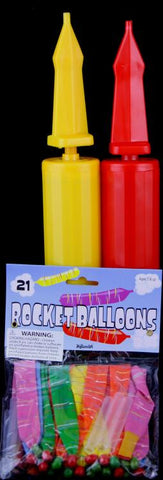 2 Double Action Air Balloon Pumps with 21 Rocket Balloons Set