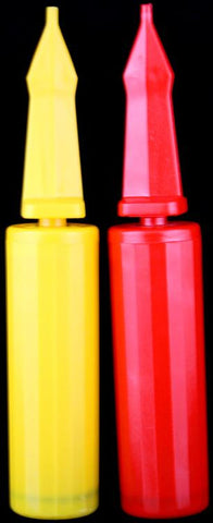 10 Hand Held Double Action Air Balloon Pumps Red/Yellow - Online Science Mall