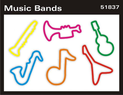 Pk of 12 Faith Bands Shaped Rubber Bands: MUSIC BANDS