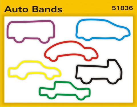 Pk of 12 Faith Bands Shaped Rubber Bands: AUTO BANDS