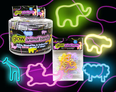 Glow Animals Rubba Bandz Case of 24 Packs of 12