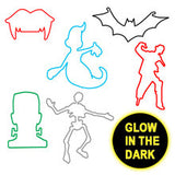 Monsters Glow In The Dark Rubber Bands Bracelets 12/pk