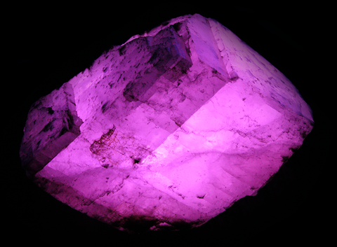 Huge 8 Inch Pink Calcite Rhomb -  Rough Fluorescent Mineral Specimen