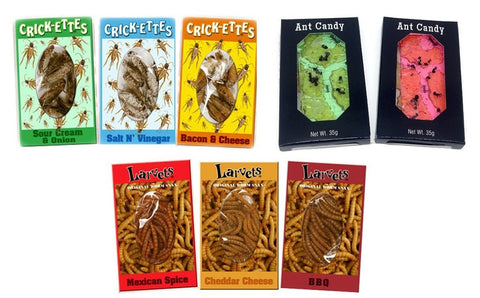 Hotlix Bundle Pk of 8 Includes 2 Ant Candy, 3 Crickettes Snax & 3 Larvets Worm Snacks - Assorted Flavors