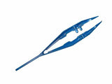 BLUE Plastic Very Fine Tip Forceps with Guide Pin - Dissection Tweezers: Pk 1