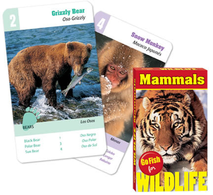 Go Fish For Wildlife: MAMMALS: 4 Games In One Deck of Wild Cards
