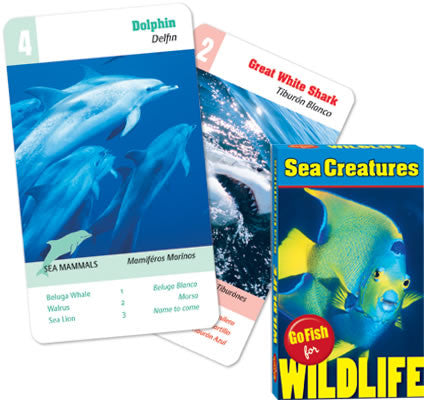 Go Fish Card Game For Wildlife: SEA CREATURES: 4 Games In One Deck of Wild Cards