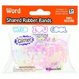 Glitter WORD Rubber Band Bracelets 12pk