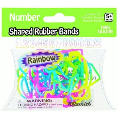 NUMBER Shapes Rainbow Colors Rubber Bands Pk12
