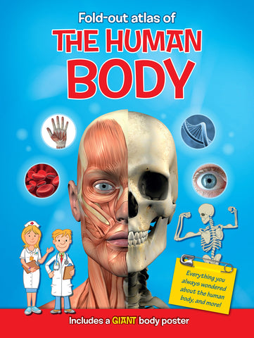 Fold-Out Atlas of the Human Body with Poster - Kids' Anatomy Book (40 Pages)