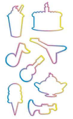 SWEETS & MUSICAL Shaped (12 styles)Rainbow Rubber Bands:24 RINGS