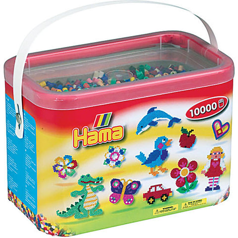 Hama Beads in a Bucket 10000 Piece - Midi Bead 5mm - Assorted Colors