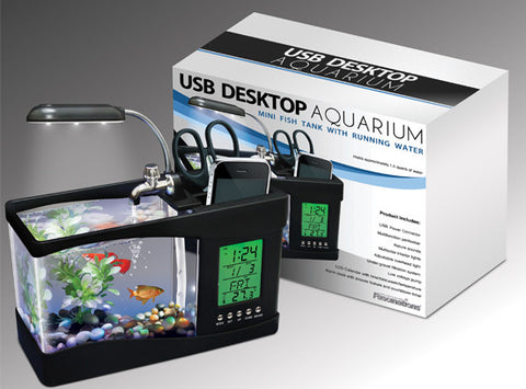 USB Desktop Aquarium LED Clock and Timer with Adjustable Lamp