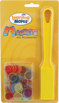 Magnetic Wand with 100 Steel Ringed Chips Assorted Colors