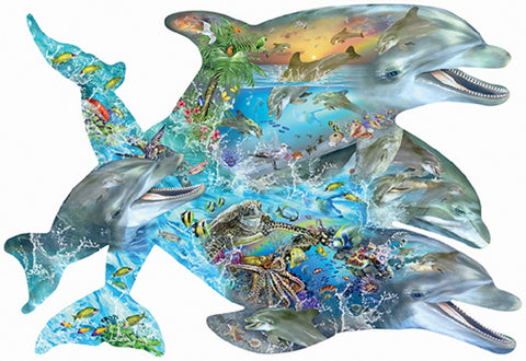 Song of the Dolphins - Porpoise Shaped Jigsaw Puzzle - 1000 pc