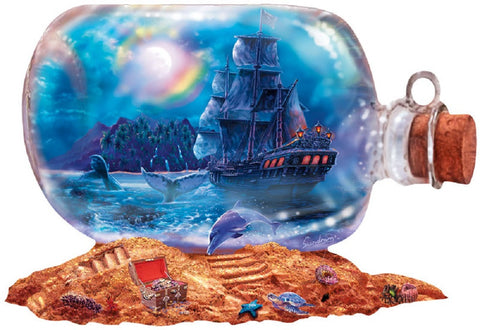 Run Aground - Ship in a Bottle Shaped Jigsaw Puzzle 1000 Piece