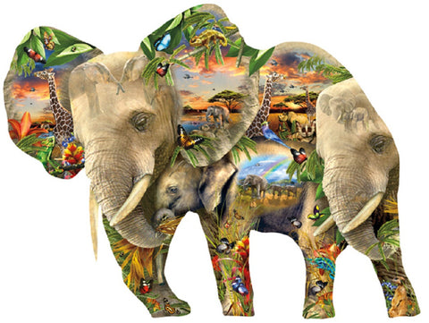 Ele-Phantastic - Custom Elephant Shaped Jigsaw Puzzle - 1000 pc