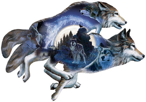 Moonlight Warrior- Custom Wolf Shaped Jigsaw Puzzle - 1000 pc