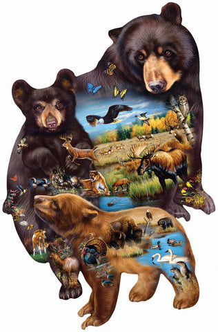Bear Family Adventure - Custom Shaped Jigsaw Puzzle - 1000 pc