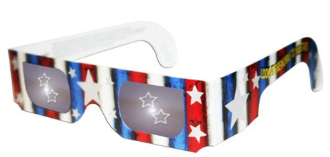 3D Holographic Glasses w Patriotic Frame-See STARS at Any Bright Point of Light-Pack of 10
