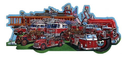 Classic Firetrucks - Fire Engine Shaped Jigsaw Puzzle 600 Piece