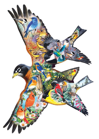 Bird Song - Bird Shaped Jigsaw Puzzle 1000 Piece