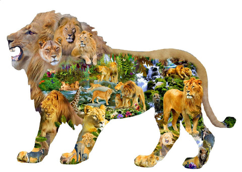 Lion's Roar - African Animal Shaped Jigsaw Puzzle 1000 Piece