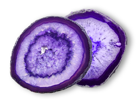 "Large 4.5"" Polished Purple Agate Slab Coasters - Set of 2"