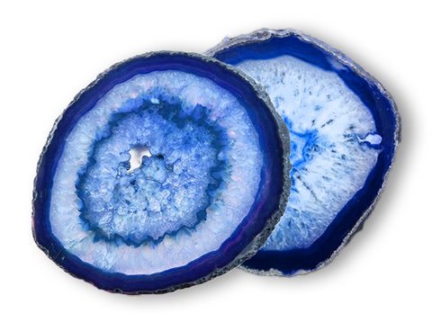 "Large 4.5"" Polished Blue Agate Slab Coasters - Set of 2"