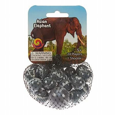Asian Elephant Game Net Set 25 Piece Glass Mega Marbles