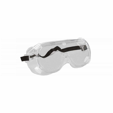 ERB™ Chemical Splash Guard Safety Goggles - Adult Size, Clear Frame, Clear Lens, Black Straps, Pack of 20