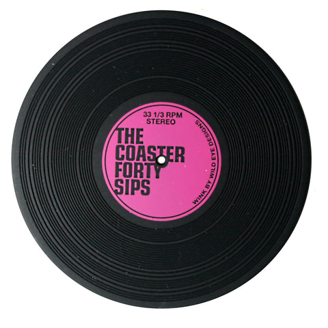 The Coaster: Forty Sips - Vinyl Record Style Silicone Coasters, Set of 2
