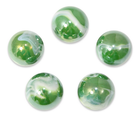 "7/8-Inch ""Fungus"" Marble 22mm Shooters - Pack of 5 w/Stands"