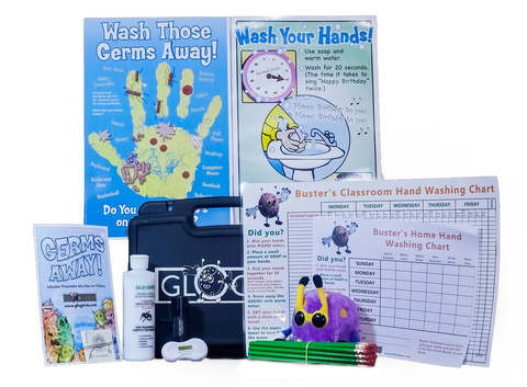Glo Germ Comprehensive Classroom Kit w/ Gel, 21 LED UV Flashlight, Activity Booklets, Posters, & More
