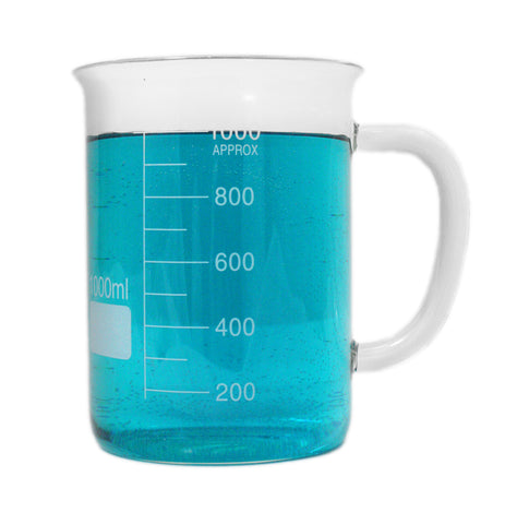1000ml Glass Beaker Mug without Spout - Single Scale