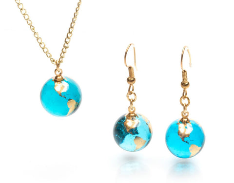 Earrings and Necklace Set - Blue Recycled Glass Earth Marbles With 22K Gold Continents