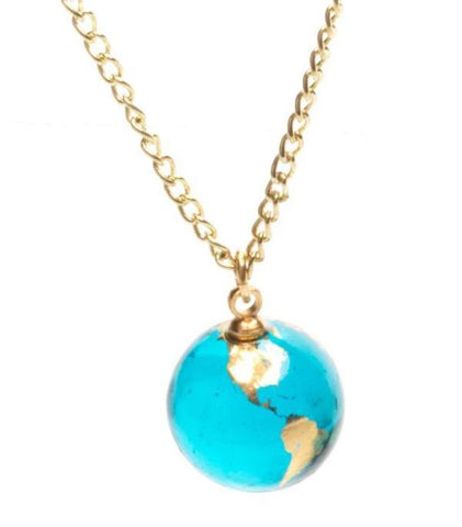 "Blue Recycled Glass Earth Marble Necklace With 22K Gold Continents and 24"" Gold Fill Chain"