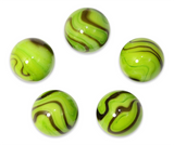 "1 Inch ""Grasshopper"" Marble 25mm Shooters - Pack of 5 w/Stands"