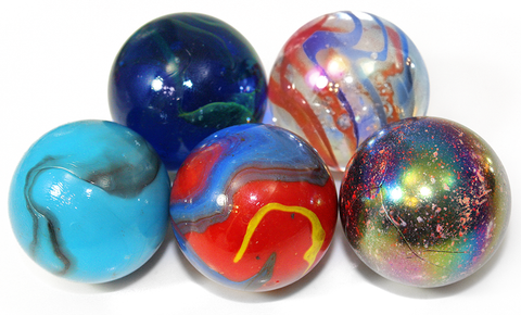 50mm Bundled Pack of 5 Collectible Glass Marbles - The Archaic Set (Sea Turtle, Funfair, Brontosaurus, Odin, & Jupiter)